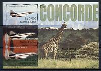 Sierra Leone 2003 MNH Concorde Over Kenya 3v M/S Giraffes Aviation Stamps