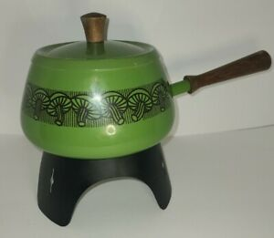 Vintage Fondue Pot Green With  Mushrooms And Heating Stand