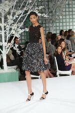 BEST red carpet R'09 Oscar De La Renta lace top/3D silk skirt black/grey dress