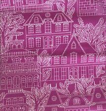 Michael Miller Cotton Fabric 1 Metre House Street Bright Hot Pink Craft Quilt
