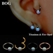 Titanium Opal Hinged Segment Captive Ring Lip Cartilage Tragus Helix Piercing