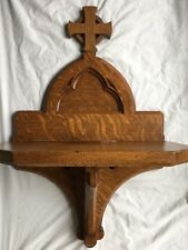 Antique Wood Architectural Salvage Church Christian VINTAGE Hall Entry Shelf 30""