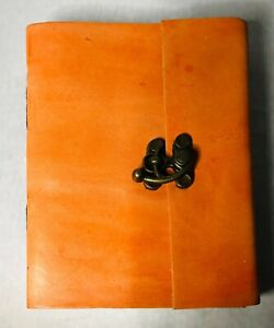 Tuzech Handmade Leather Diary Leather Journal Notebook Use with Lock (Orange)4x6