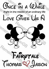 Personalised Mickey Mouse Gay Engagement Anniversary Wedding Love Print Gift