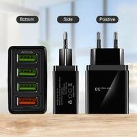 QC3.0 Fast Quick Charge 4 USB Ports Hub Wall Charger Power Adapter US EU Plug A+