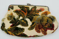 Vintage Tapestry Fabric Floral Embroidery Kiss Lock Clutch Purse Wallet Make Up