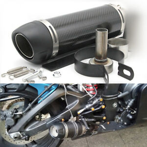 51mm Universal Motorcycle Exhaust Pipe Modified Muffler Gloss Carbon Fiber 345mm