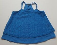 GIRLS MATALAN BRIGHT ROYAL BLUE LACE CAMISOLE TOP BLOUSE CAMI SUMMER AGE 10 - 11
