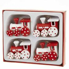 Heaven Sends Set Of 4 Wooden Train Christmas Tree Decorations Ornaments Gift