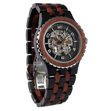 Wilds Men's Handmade Ebony & Rose Wood Watches Automatic Wooden Watches For him