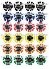 24 Casinò Chip Poker Vegas Iced/Glassa Cupcake Topper Commestibili Fata Torta Chignon