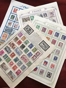 FRENCH STAMPS FROM OLD ALBUMS.4 PAGES