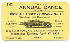 RARE 1929 Westbury Long Island L.I. LI Firemen H&L Dance ticket Masonic Temple !