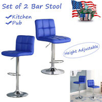 New Adjustable Counter Height Bar Stools PU Leather Swivel Pub Chairs Set of 2