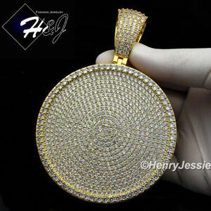 MEN 14K GOLD FINISH ICY DIAMOND GOLD/SILVER OVERSIZE HEAVY ROUND PENDANT*BP11