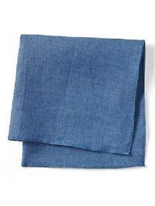 NEW Banana Republic Mens Coastal Blue Chambray Linen Pocket Square Handkerchief
