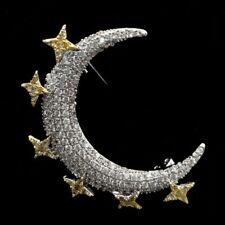 Victorian Vintage Small Gold Star Silver Crescent Moon Brooch Pin Planet Jewelry