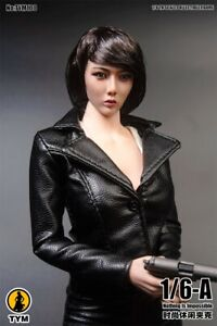 TYM100 1:6 Black Agent Jacket Coat Clothes Props For 12'' Female Action Figure