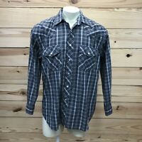 Falcon Bay Mens Shirt Large Gray White Plaid Pearl Snap LS Western Collared B83