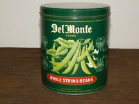 "VINTAGE KITCHEN FOOD 7"" HIGH DEL MONTE STRING BEANS TIN CAN *EMPTY*"