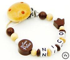 Schnullerkette mit Namen ★ Kleiner Prinz/Krone in beige/braun/weiss ♥ Neu