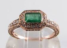 LUSH 9K 9CT ROSE GOLD COLOMBIAN EMERALD &  DIAMOND ART DECO INS RING FREE RSIZE