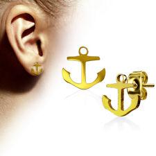1Paar Damen Herren Ohrstecker Ohrringe Anker Maritim Stecker Edelstahl Gold
