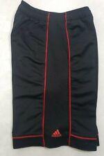 ADIDAS Boys Basketball Shorts Black W/ Red Stripe Drawstring Waist Size Large