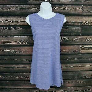 Athletic Works Tank Shirt Womens Size 3XL Blue Violet Striped Cotton Blend Long