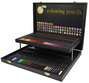 68 Buntstifte Farbstifte in Holzklappkoffer Künstler Zeichnen Malen Skizzieren