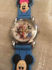 Reloj de Pulsera niños Niñas Niños Mickey Mouse Azul Cielo Correa De Silicona Acero atrás encomendada