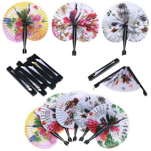 1x Chinese Paper Folding Hand Fan Oriental Floral Peacock Party Wedding Gifts ZH