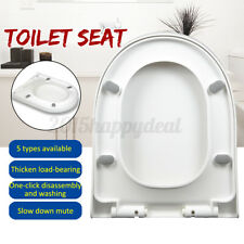 Heavy Duty Closed Front Toilet Seat Cover Round Elongated Slow Close Easy Clean
