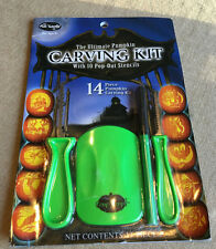 14 PC Halloween Family CARVING KIT Age 8+ Pumpkin CARVE 10 STENCILS 4 Tools
