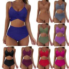 Mujeres Sexy Bikini Conjunto Push up de impresión Soild baño trajes de baño traje de baño cintura alta