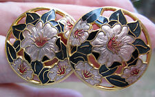 Cloisonne 1980s Pansy Flowers Stud EARRINGS Fish and Crown Enamel 22ct G/P 2.5cm