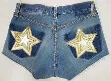 Nasty Gal After Party Levi's Cutoff Denim Jean Shorts Light Wash 28 Star Pockets