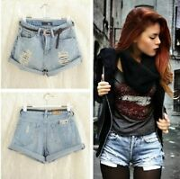 Fashion Women Vintage Denim High Waist Light Blue Jean Shorts Hot Pants