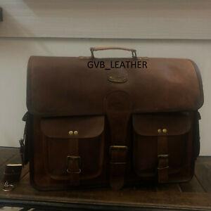 """Men's 18"""" Wide Leather Laptop Messenger Satchel Shoulder Handmade Vintage Bags"""