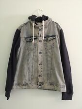 Mens River Island Hooded Denim Jacket (M)