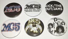 6 MC5 button Badges punk Sex Pistols Clash Stooges Detroit kick out the jams