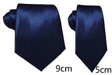 Navy Blue Plain Satin Tie Skinny Classic Wedding Business Prom UK
