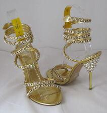 """Gold 4.5""""High Heel Front Straps/Rhinestone Ankle Strap Go Around Leg Size 6.5"""