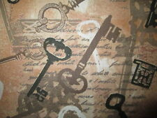 ANTIQUE KEYS VINTAGE KEYS SCRIPT WRITING COTTON FABRIC FQ