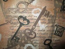 ANTIQUE KEYS VINTAGE KEYS SCRIPT WRITING COTTON FABRIC FQ