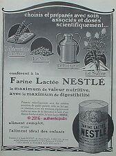 PUBLICITE NESTLE FARINE LACTEE BISCUIT MALT LAIT SUCRE ENFANT DE 1926 FRENCH AD