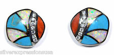Multicolor, Turquoise & White Fire Opal Inlay 925 Sterling Silver Post Earrings