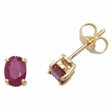 Gold Ruby Stud Fine Earrings