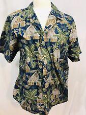 RJC Mens Short Sleeve Hawaiian Shirt Sz XL Blue Tribal Villager Print USA Made