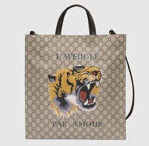 GUCCI Tote Shoulder Bag Bengal Tiger Animal GG Supreme Beige 450950 Unisex New